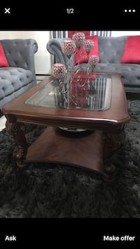 brown wooden framed glass-top coffee table 380 mi
