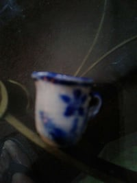 white and blue ceramic teacup Cleveland, 44103