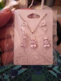 White Crystal Cat Necklace and Earring Set
