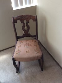 brown wooden framed pink, white, and green floral padded rocking chair La Mesa, 91942