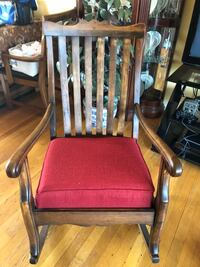 Antique Brown wooden framed red padded racking chair Woodbridge, 22191