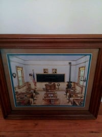 Nice Old School Room Picture w/Wood Frame Orient, 43146