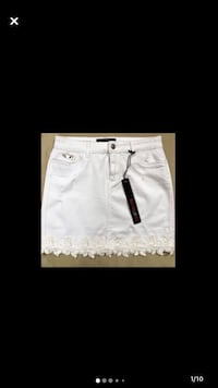 White Jean skirt with lace and sequins hem