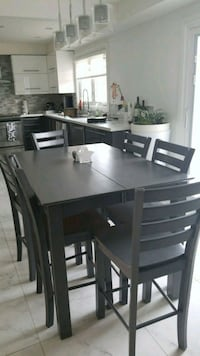 rectangular black wooden table with six chairs dining set Vaughan, L4L 3T5