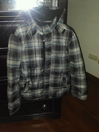 black and gray plaid button-up jacket 507 km