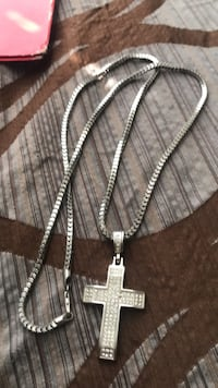 silver chain necklace with cross pendant Austell, 30106