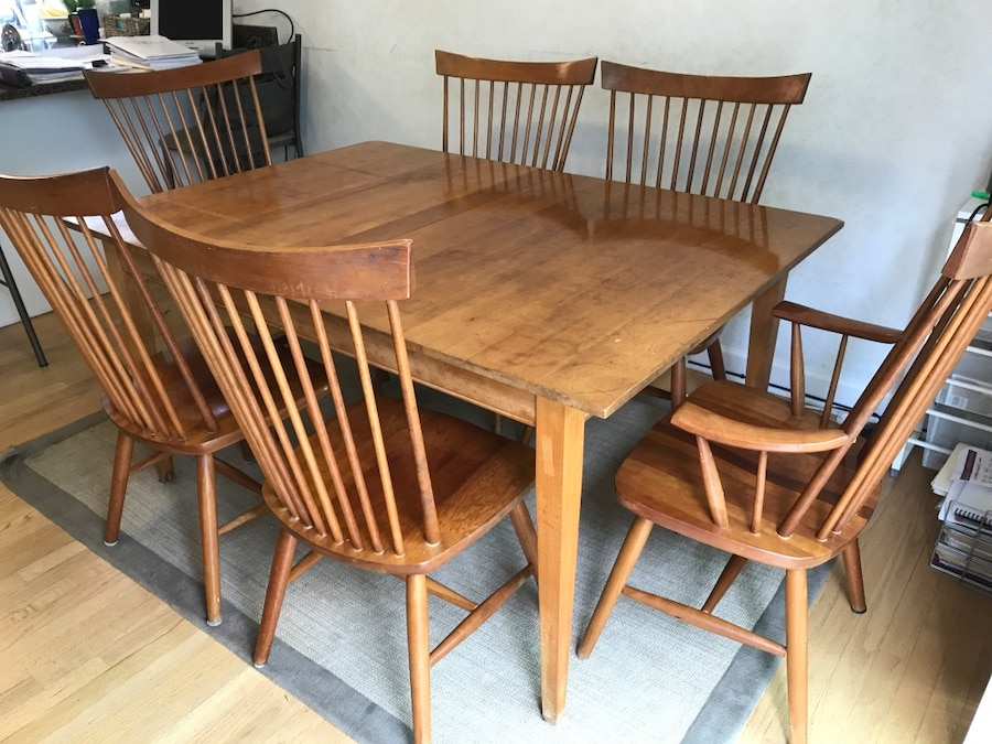 Solid natural cherry wood table 6 chairs and 2 leafs in for Table 6 in as 3725