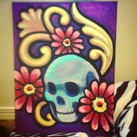 skull with flowers painting Edmonton, T6A 0J9