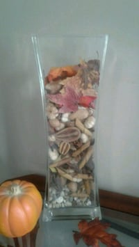 Tall glass vase with dry fall decor Kitchener, N2K 4J7