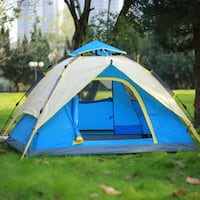 new 3-Person Dome TentInstant Set-Up Double-Walled Tent Camping Shelter Waterproof Silver Spring