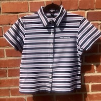 black and white stripe button-up polo shirt Kensington, 20895
