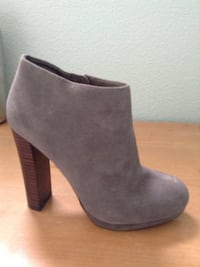 Grey suede side zip booties size 6.5, used 1x only excellent condition, almost brand new from Victoria Secret San Jose