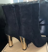 Black suede boots with gold heel District Heights, 20747