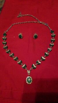Emerald white topaz silver necklace and earrings  San Antonio, 78233