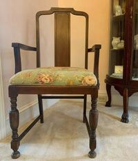 ANTIQUE SOLID WOOD ARMCHAIR WITH NEW SEAT CUSHION