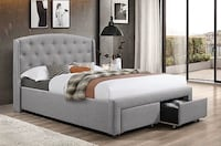 Grey Fabric Bed With Pull Out Drawers Vaughan, L4L 7A5