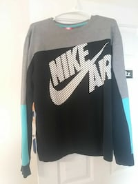 black and gray Nike Air crew-neck sweater