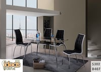 black wooden dining table with chairs Chicago