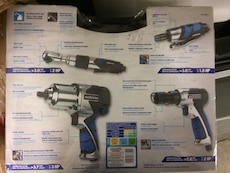 blue ad black power hand tool set