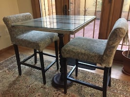 Handcrafted High Table w/ Antique Windowpane and Reupholstered Chairs