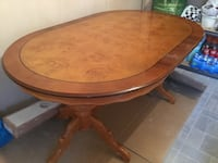 round brown wooden pedestal table LONDON