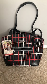 Black and red plaid leather tote bag Calgary, T1Y