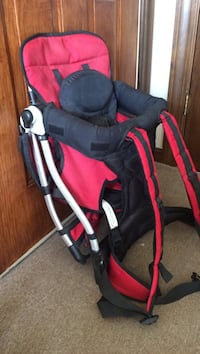baby's black and red stroller