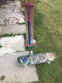 Pogo stick and skate board for sale