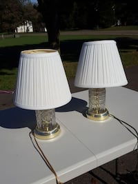 two clear glass lamp bases with white lamp shades Warrenton