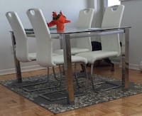 Dining Set (glass) with white chairs Toronto, M3J 0G7