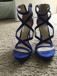 Pair of blue Jessica Simpson peep-toe strappy heeled sandals 241 mi
