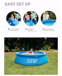 Swimming Pool Set 8' x 30in Easy Set Inflatable W/ Filter - Pump