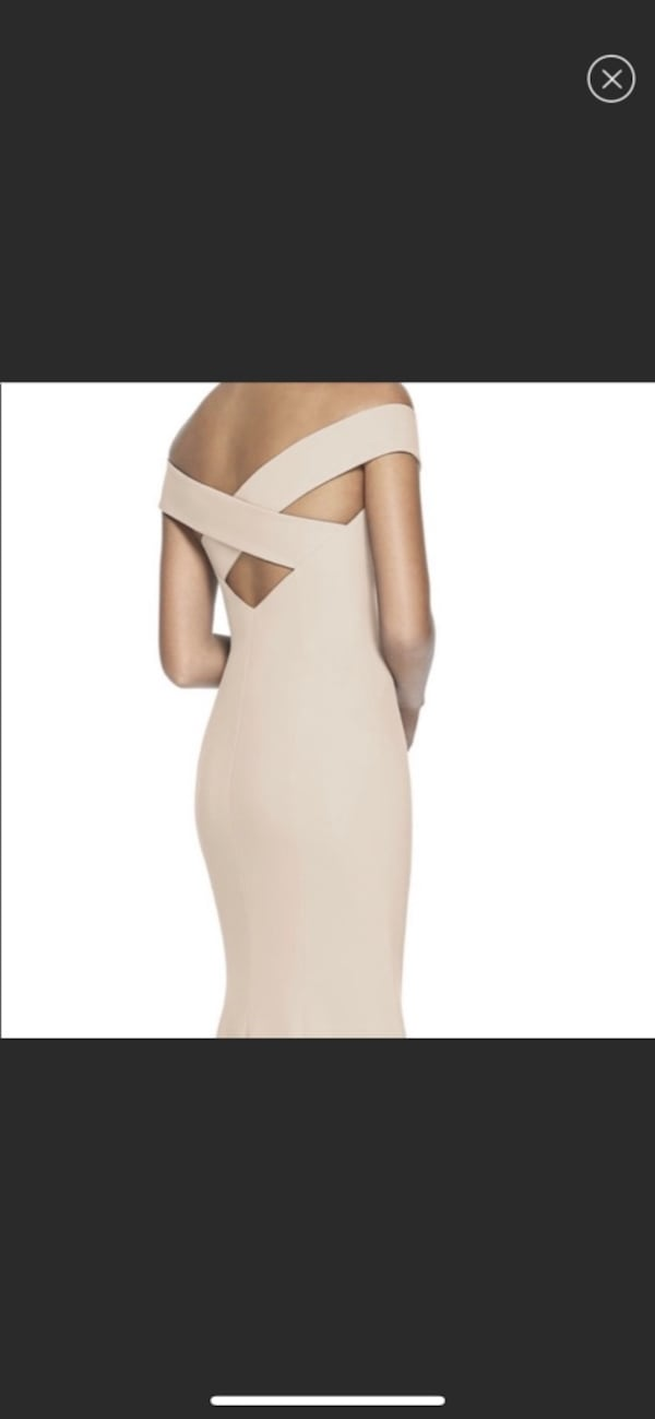 Dessy Collection Off-the-Shoulder Column Gown with slit b681f544-31d1-4225-87cc-137cfa0a7b26