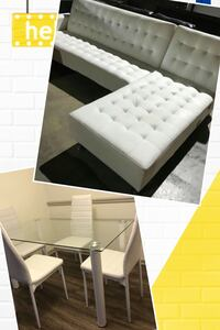 Brand new 2 pcs WHITE SOFA BED WITH TABLE SET Norcross