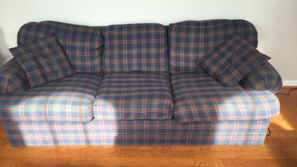 Red and blue plaid fabric 3-seat sofa