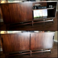 brown wooden TV hutch with flat screen television Edmonton, T5Y 6L9