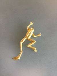 JJ Jonette gold tone textured frog brooch pin 4 inches long