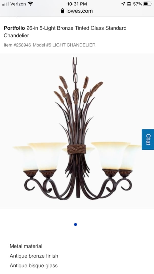 Portfolio 26-in 5-Light Bronze Tinted Glass Standard Chandelier f01585f9-95df-4a15-87b8-2b41f6622fee