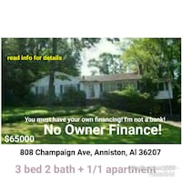 HOUSE For Sale 4+BR 3BA NO OWNER FINANCE.READinfo Anniston