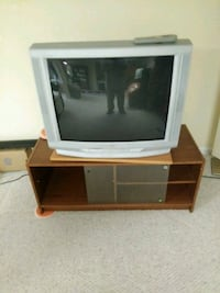 gray CRT TV with brown wooden TV stand Boones Mill, 24065
