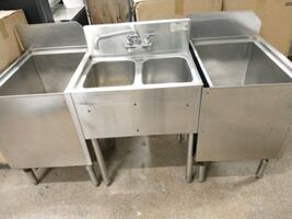 """Bar Two compartment sink with 2 icebi. Krowne 62"""" W x 24"""" D x 36"""" H"""