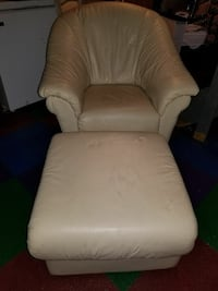 white leather tub chair with ottoman