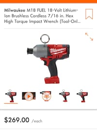 Milwaukee bare tool 7/16 high impact wrench Colorado Springs
