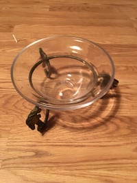 VINTAGE CLEAR GLASS BOWL WITH A SOLID BRASS STAND Melbourne, 32935