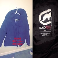 black Ecko Red M button-up hooded jacket