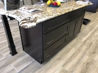 """Brand new 60"""" kitchen island with exotic granite top"""