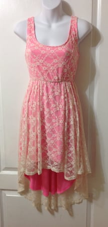 ARDENE Pink/White Lace Hi/Lo Dress
