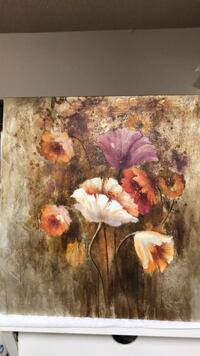 Brown and white flower painting in very good condition almost new Lubbock, 79424