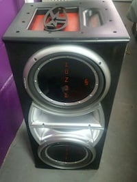 gray and black Pioneer subwoofer