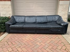 Navy leather sectional couch